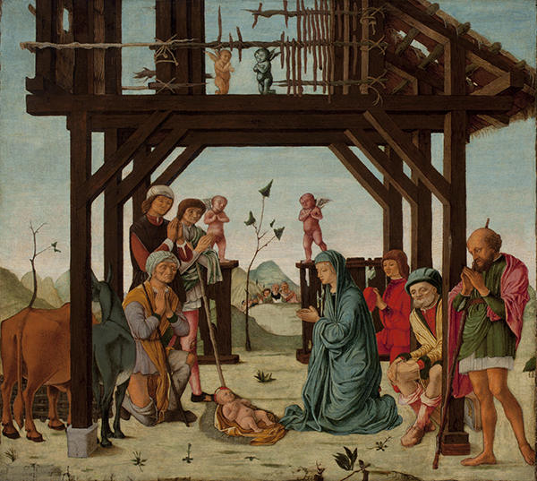 Circle of Ercole de' Roberti (about 1450-96), The Adoration of the Shepherds c.1480s  oil on panel. Promised gift from the Joey and Toby Tanenbaum Collection, 2016  Photo: Bob McNair